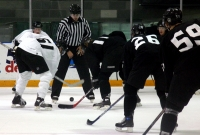Trevor Lewis and Anze Kopitar face off