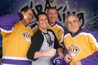 Ian Turnbull, Dave Taylor and Rogie Vachon pose with fan