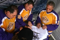 Ian Turnbull, Dave Taylor and Rogie Vachon
