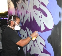 Graffiti artist at Staples Center