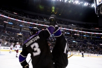 Anze Kopitar and Jack Johnson high five