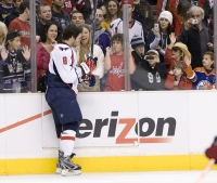 Ovechkin Bumps The Boards To Mess With The Fans