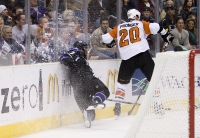 Wayne Simmonds Is Slammed Into The Boards By Chris Pronger