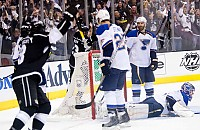 Kings celebrate Justin Williams goal to open scoring