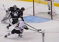 Jake Muzzin saves a goal