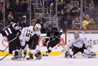 J.s. Giguere Knocks Away A Shot From Anze Kopitar