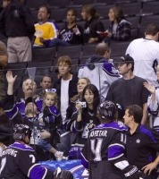 Anze Tosses A Puck To A Dad With Daughter