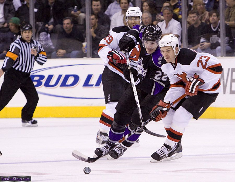 Brian Boyle And David Clarkson Race For The Puck