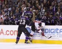 Dustin Brown Checks Jamie Langenbrunner