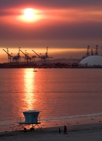 Strange Sunset In Long Beach After Fire In Palos Verdes