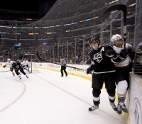 Anze Kopitar Checks Scott Niedermayer