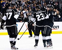 Kings celebrate lone goal