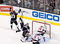 Dustin Brown celebrates opening goal