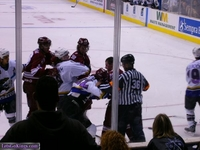 Tim Gleason and others in a scuffle